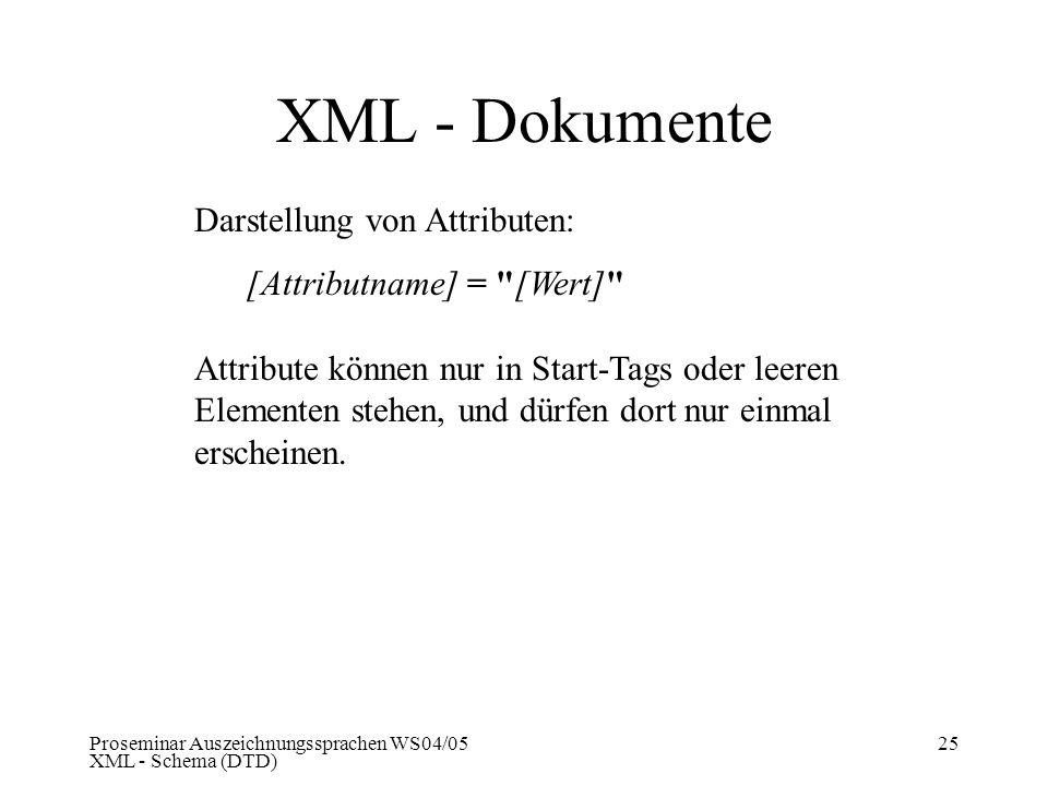 XML - Dokumente Darstellung von Attributen: [Attributname] = [Wert]
